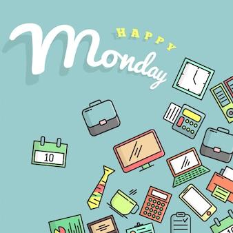 Счастливый понедельник иллюстрации. эта иллюстрация предназначена для людей, которые грустят или даже ненавидят понедельник, особенно офисных работников