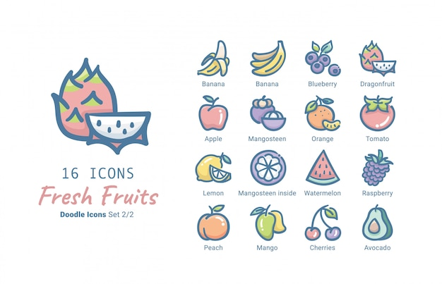 Свежие фрукты векторная коллекция иконок