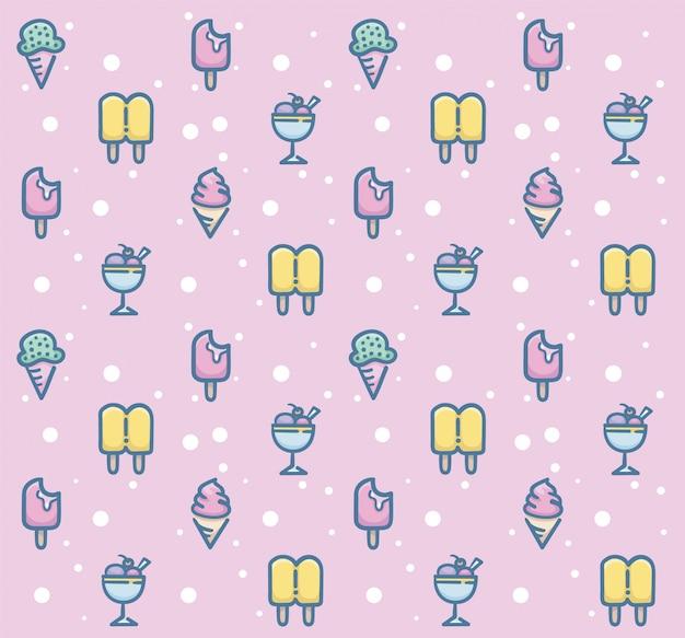 甘いデザートのシームレスなパターンデザイン