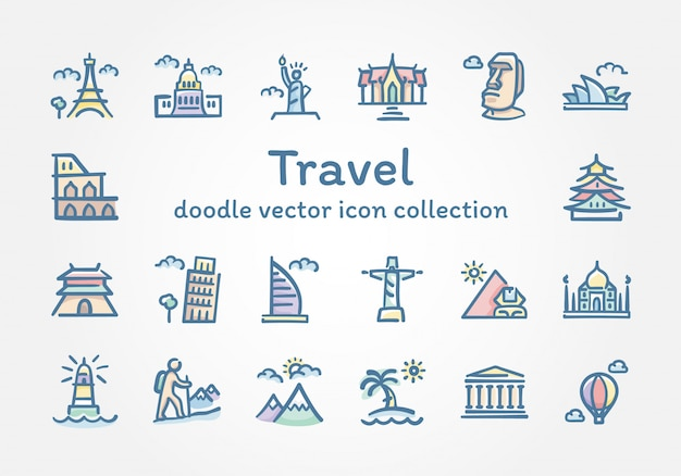 Путешествие каракули коллекция векторных иконок