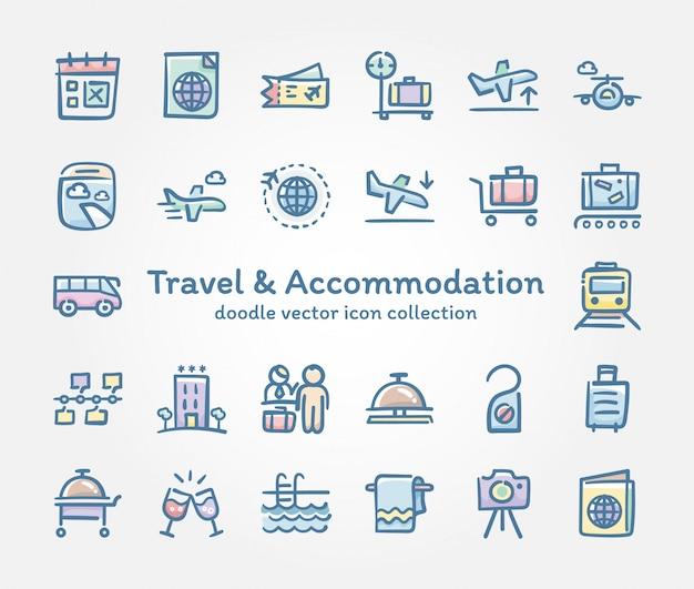 旅行&宿泊施設の落書きベクトルアイコンコレクション