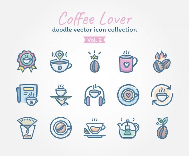 Любитель кофе каракули коллекция векторных иконок