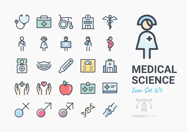 Набор иконок медицинской науки