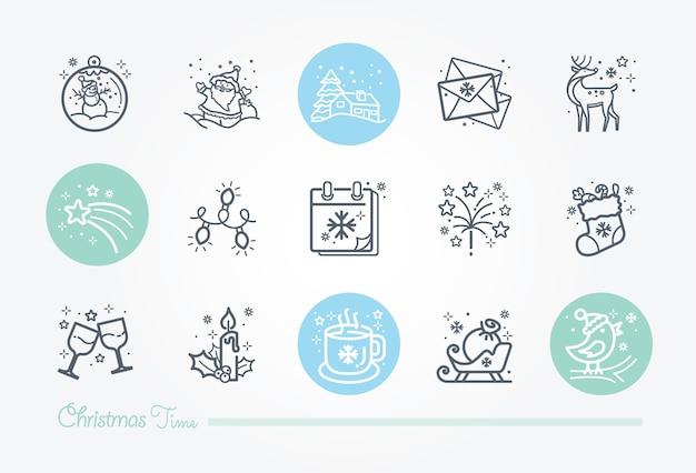 クリスマスタイムのアイコンコレクション