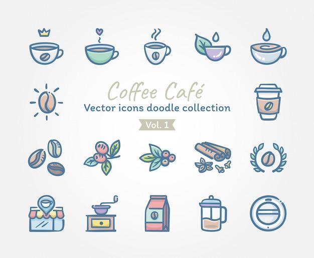 Кофейное кафе векторные иконки каракули коллекция