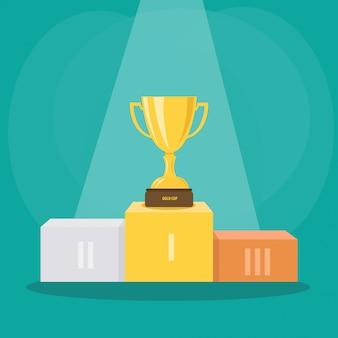 スポットライトの下でのスポーツイベントで優勝した金カップ表彰台