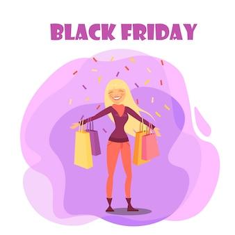 Черная пятница со счастливой иллюстрацией женского покупателя
