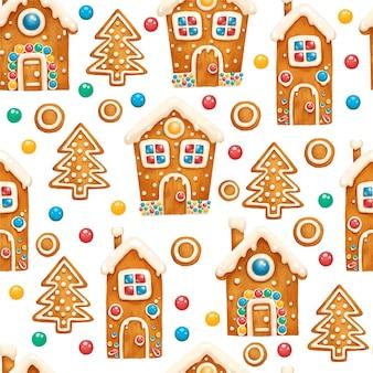 クリスマス休暇のための人々の家とのシームレスなジンジャーブレッドパターン