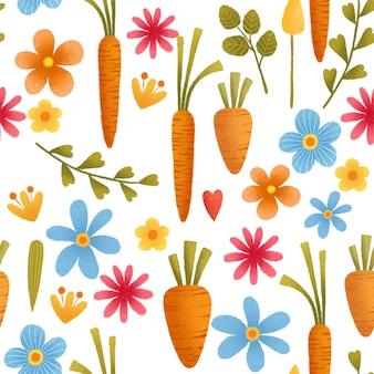 Морковь, цветы бесшовные модели.