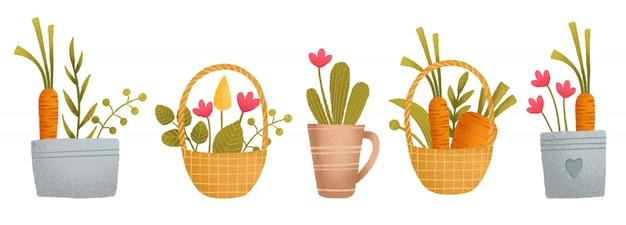 Милый красочный набор, корзина, морковь, цветы, растения, горшок