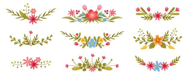 Коллекция красочных цветочных веток с листьями и цветами