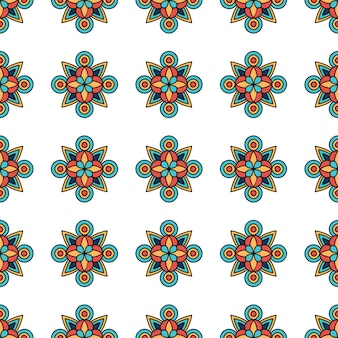 Цветочный узор племенной, стиль контура