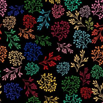 美しい花植物植物のシームレスパターン
