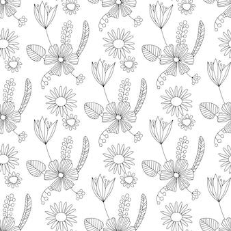 黒い花のビクトリア朝の花束とシームレスなビンテージパターン
