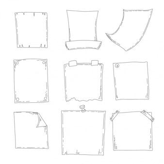 スケッチノート、メモ帳、日記のセット。オフィス用品手描きのスケッチ