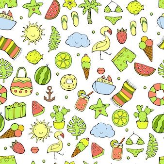 夏のシームレスパターン。スイカ、パイナップル、アイスクリーム、ヤシの木、レモン、サボテン