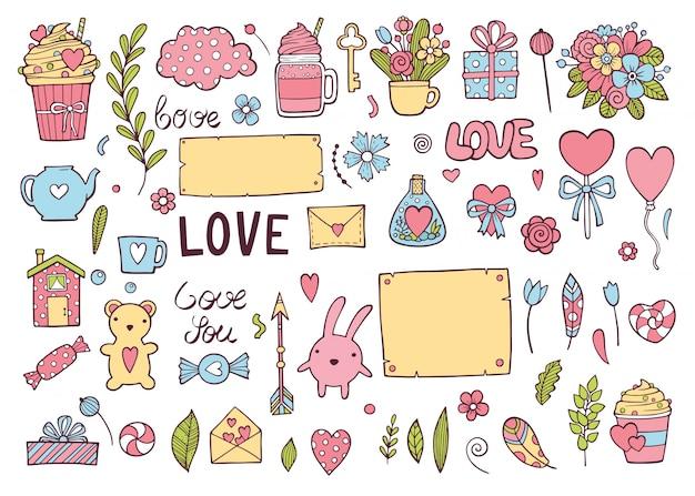 カラフルな結婚式の日やバレンタインの休日セット。カード、招待状、プリントのかわいい落書きアイコンコレクション