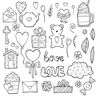 Симпатичные романтические наклейки для дня святого валентина. набор предметов для знакомств.