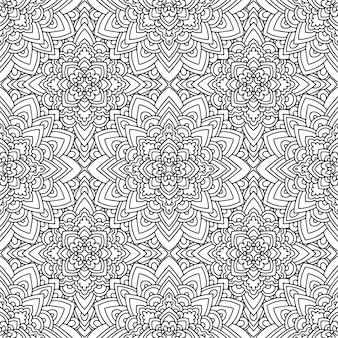 黒と白の色でアメリカインディアンをモチーフにしたシームレスな民族パターン。アステカの背景。