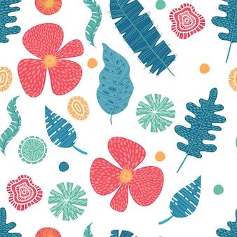 エキゾチックな花ハイビスカスとプルメリアバナナは、青ライム色の熱帯のシームレスなパターンを残します。ビーチパーティーの背景