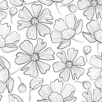 シームレスな花パターン背景