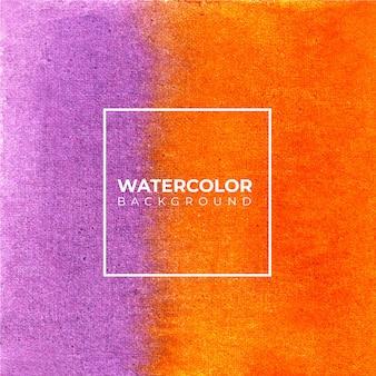 パープルオレンジ抽象的な水彩画の背景、ハンドペイント。紙の上にはねかける色。