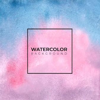 Голубая и розовая предпосылка текстуры акварели, краска руки.