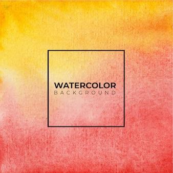 オレンジと赤の水彩テクスチャ背景、ハンドペイント。