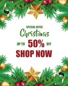 Специальное рождественское предложение, карта сезона продаж, плакат, баннер, флаер