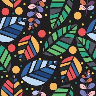 ベクトルカラフルな葉黒の背景で分離されたシームレスパターン