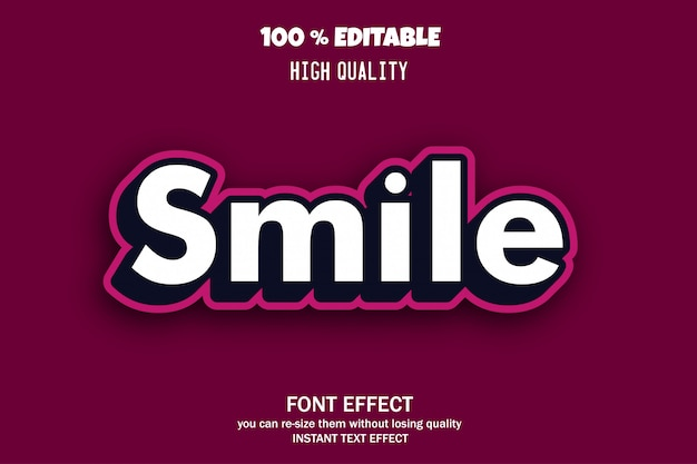 Текст улыбки, редактируемый эффект шрифта
