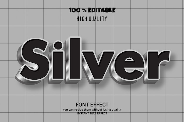 Серебристый текст, эффект шрифта
