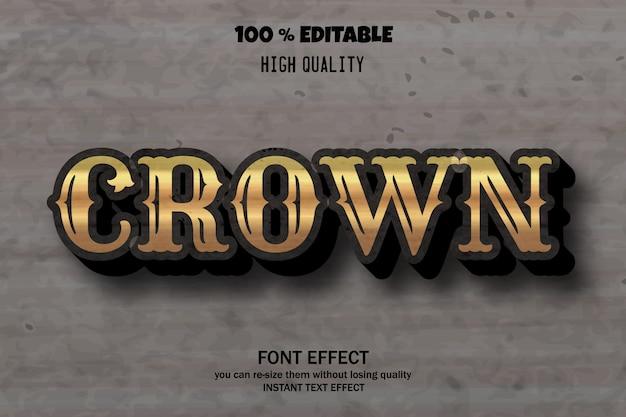 Редактируемый эффект шрифта, стиль короны жирным шрифтом