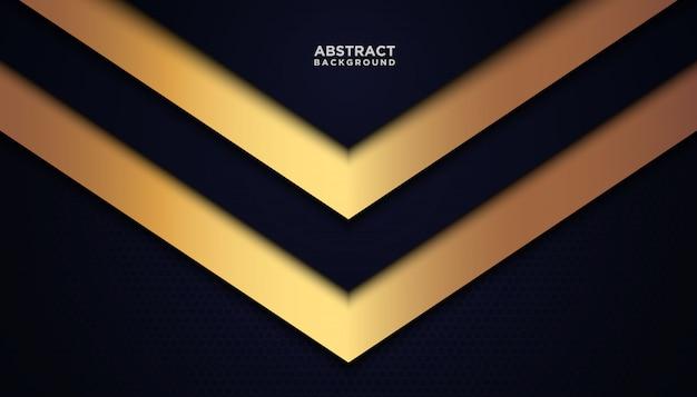 青い重複レイヤーと暗い抽象的な背景。黄金の効果要素の装飾を持つテクスチャー。
