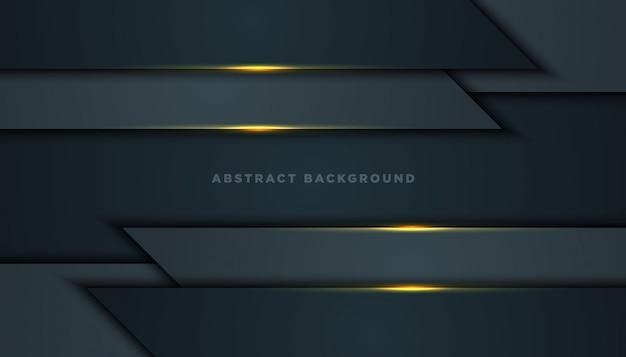 黒のオーバーラップレイヤーと暗い抽象的な背景。黄金の効果要素の装飾を持つテクスチャー。
