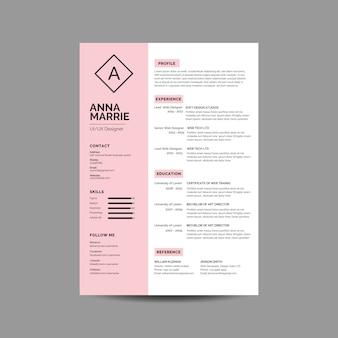 ピンクの履歴書テンプレート