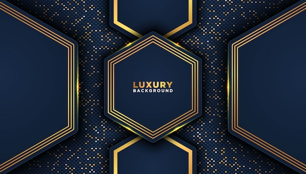 オーバーラップレイヤーと暗い抽象的な背景。豪華なデザインコンセプト。黄金の輝きドット要素装飾。豪華なデザインコンセプト。