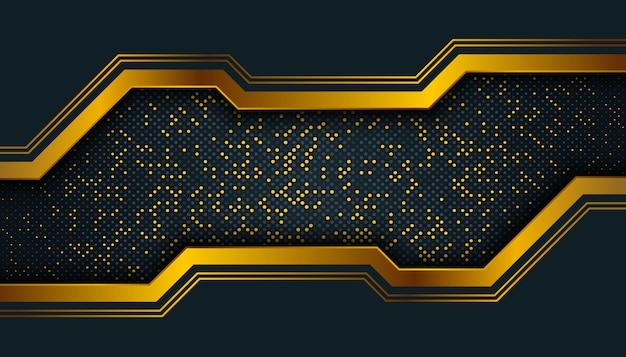 オーバーラップレイヤーと暗い抽象的な背景。黄金の輝きドット要素装飾。