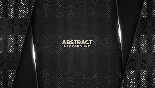 光るドット要素装飾と黒の抽象的な幾何学的な背景