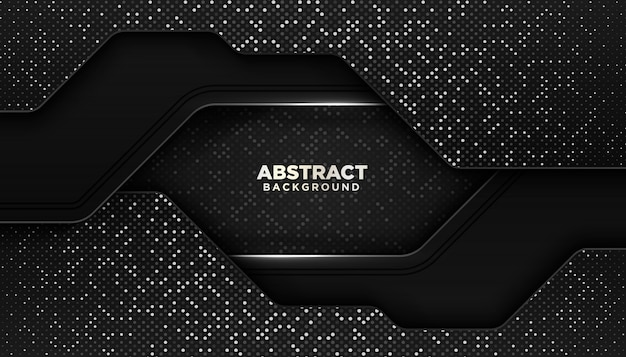 Черный абстрактный геометрический фон с блестками точек украшения элемента