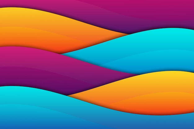 カラフルな波の幾何学的なペーパーカットの背景