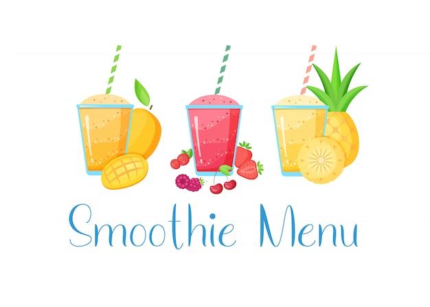 Набор смузи витаминный напиток плоской иллюстрации