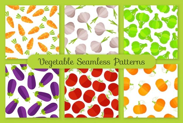 カラフルなフラット野菜のシームレスなパターンセット