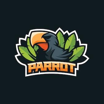 素晴らしいオウム鳥のロゴデザイン