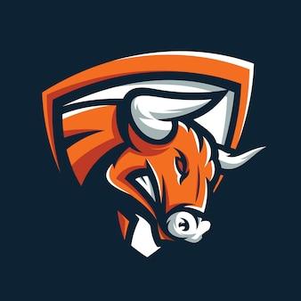 Злой бык логотип вектор