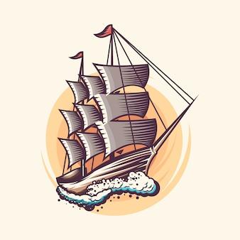 ビンテージ帆船イラストデザイン