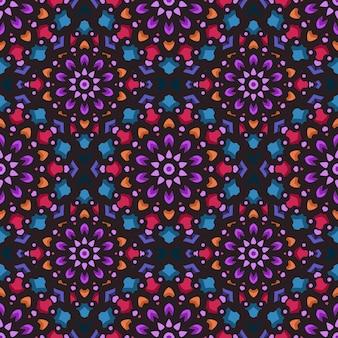 エスニックマンダラアート飾りとのシームレスなパターン。マンダラのシームレスなパターン。花曼荼羅パターン