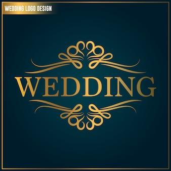 結婚式のロゴのデザインテンプレート。結婚式のロゴのベクトル。女性らしいエレガントなロゴデザインテンプレート