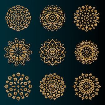 円形の花柄のゴールドの高級マンダラアート飾り