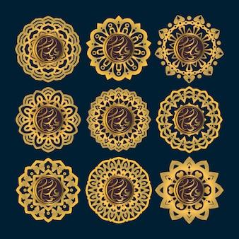 Ид мубарак каллиграфия с золотым стилем и орнаментом мандалы